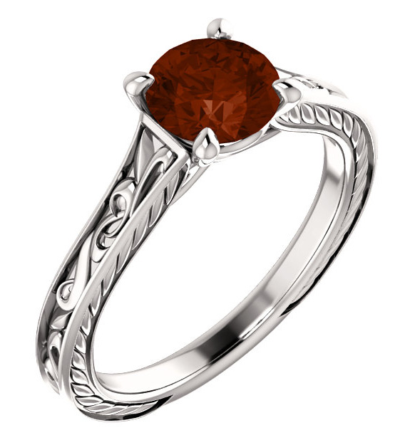 Garnet Scroll-Work Design Ring, 14K White Gold