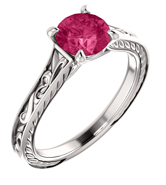 Swarovski Pink Topaz Scroll-Work Ring in 14K White Gold