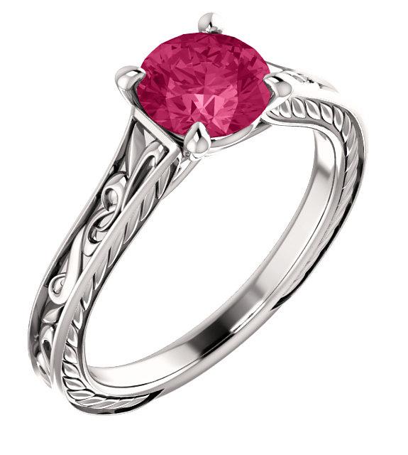 Swarovski Pink Topaz Scroll-Work Ring in 14K White Gold
