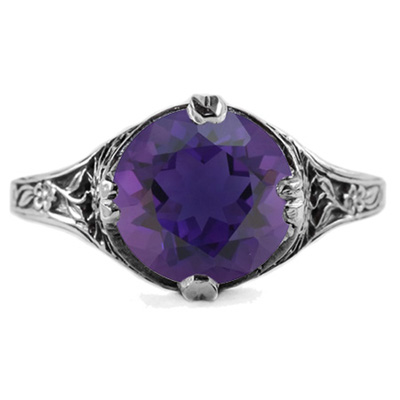 9mm Round Amethyst Floral Design Vintage Style Ring in 14K White Gold