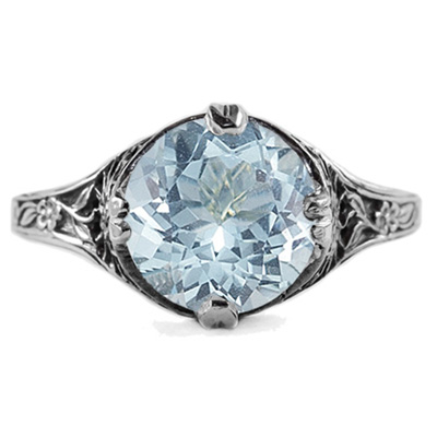 9mm Round Aquamarine Floral Design Vintage Style Ring in 14K White Gold
