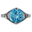 9mm Round Blue Topaz Floral Design Vintage Style Ring in 14K White Gold