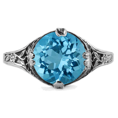 9mm Round Blue Topaz Floral Design Vintage Style Ring in Sterling Silver