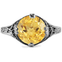 9mm Round Citrine Floral Design Vintage Style Ring in 14K White Gold