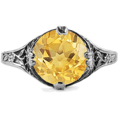 9mm Round Citrine Floral Design Vintage Style Ring in Sterling Silver