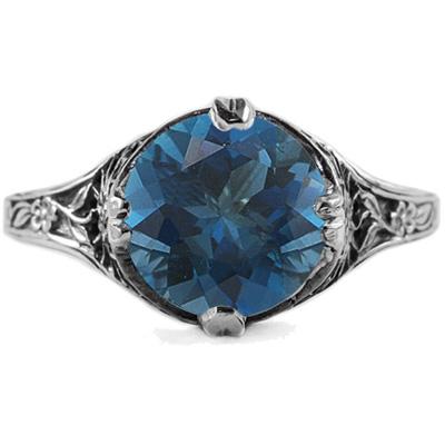 9mm Round London Blue Topaz Floral Design Vintage Style Ring in 14K White Gold