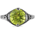 9mm Round Peridot Floral Design Vintage Style Ring in 14K White Gold