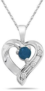 Sapphire and Three Stone Diamond Heart Pendant, 14K White Gold