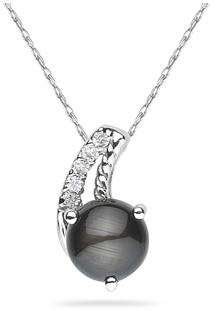 Black Star Sapphire and Diamond Pendant, 10K White Gold