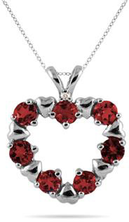 Garnet Heart Pendant in 10K White Gold
