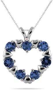 Sapphire Heart Pendant in 10K White Gold