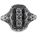 Vintage Style Three Stone Diamond Ring in 14K White Gold