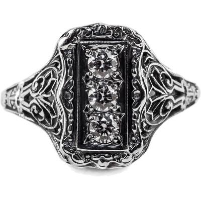 Vintage Style Three Stone Diamond Ring in 14k White Gold