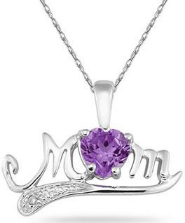 Amethyst and Diamond MOM Necklace, 10K White Gold