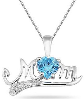 Blue Topaz and Diamond MOM Necklace, 10K White Gold