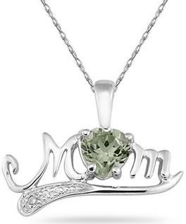 Green Amethyst and Diamond MOM Necklace, 10K White Gold