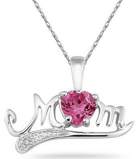 Pink Topaz and Diamond MOM Necklace, 10K White Gold