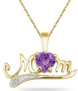 Amethyst and Diamond MOM Necklace, 10K Yellow Gold
