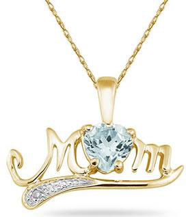 Aquamarine and Diamond MOM Necklace, 10K Yellow Gold