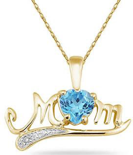 Blue Topaz and Diamond MOM Necklace, 10K Yellow Gold
