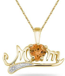 Citrine and Diamond MOM Necklace, 10K Yellow Gold