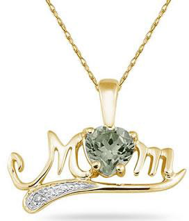 Green Amethyst and Diamond MOM Necklace, 10K Yellow Gold
