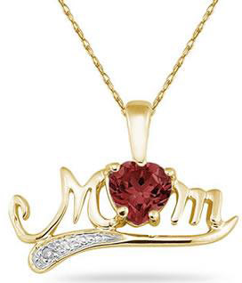 10K Gold Garnet and Diamond MOM Pendant