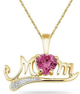 Pink Topaz and Diamond MOM Necklace, 10K Yellow Gold