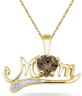 Smokey Quartz and Diamond MOM Necklace, 10K Yellow Gold