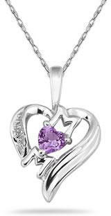 Heart-Shaped Amethyst and Diamond MOM Pendant, 10K White Gold