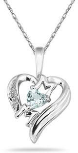 Heart-Shaped Aquamarine and Diamond MOM Pendant, 10K White Gold