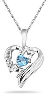 Heart-Shaped Blue Topaz and Diamond MOM Pendant, 10K White Gold