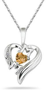 Heart-Shaped Citrine and Diamond MOM Pendant, 10K White Gold