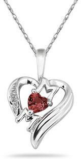 Heart-Shaped Garnet and Diamond MOM Pendant, 10K White Gold