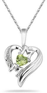 Heart-Shaped Peridot and Diamond MOM Pendant, 10K White Gold