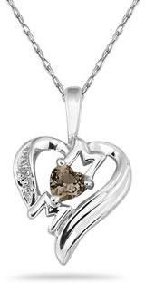Heart-Shaped Smokey Quartz and Diamond MOM Pendant, 10K White Gold