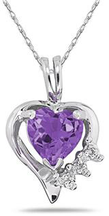 Heart-Shaped Amethyst and Diamond Pendant, 10K White Gold