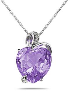 3.50 Carat Heart-Shaped Amethyst Pendant, 14K White Gold