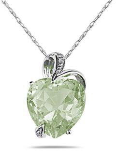 4.75 Carat Heart-Shaped Green Amethyst Pendant, 14K White Gold