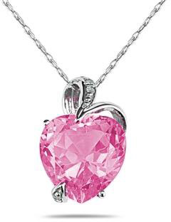 4.75 Carat Heart-Shaped Pink Topaz Pendant, 14K White Gold