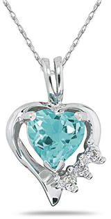 Heart-Shaped Aquamarine and Diamond Pendant, 10K White Gold