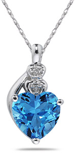 Heart-Shaped Blue Topaz and Diamond Pendant, 10K White Gold