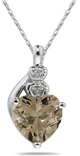 Heart-Shaped Smokey Quartz and Diamond Pendant, 10K White Gold
