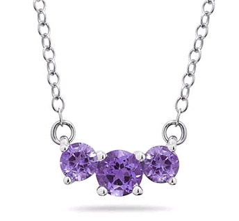 1 Carat Three Stone Amethyst Necklace, 14K White Gold