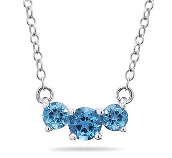 1 Carat Three Stone Blue Topaz Necklace, 14K White Gold