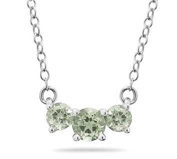 1 Carat Three Stone Green Amethyst Necklace, 14K White Gold