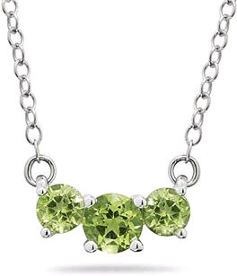 1 Carat Three Stone Peridot Necklace, 14K White Gold