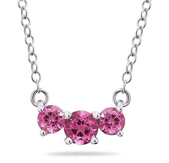 1 Carat Three Stone Pink Topaz Necklace, 14K White Gold