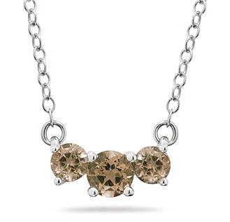 1 Carat Three Stone Smokey Quartz Necklace, 14K White Gold