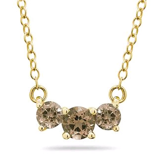 1 Carat Three Stone Smokey Quartz Necklace, 14K Gold